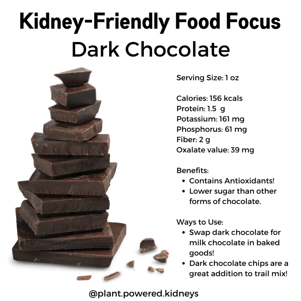 Nutrition information for dark chocolate.   Serving Size: 1 oz  Calories: 156 kcals Protein: 1.5  g Potassium: 161 mg Phosphorus: 61 mg Fiber: 2 g Oxalate value: 39 mg   Benefits: Contains Antioxidants! Lower sugar than other forms of chocolate.   Ways to Use: Swap dark chocolate for milk chocolate in baked goods!  Dark chocolate chips are a great addition to trail mix!