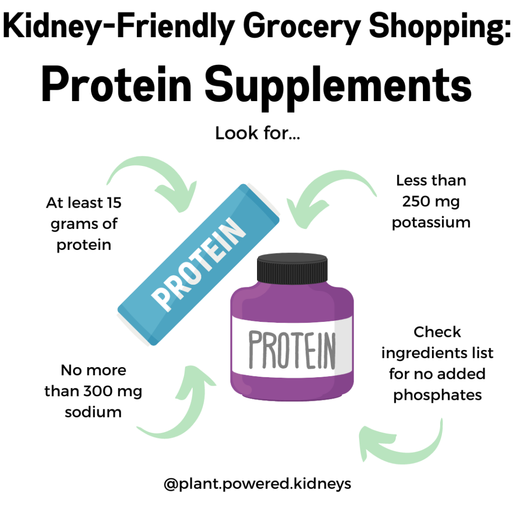 When looking for a protein bar that is safe for dialysis, look for: At least 15 grams of protein per serving, Less than 250 milligrams (mg) potassium, Less than 300 mg sodium, and No added phosphates