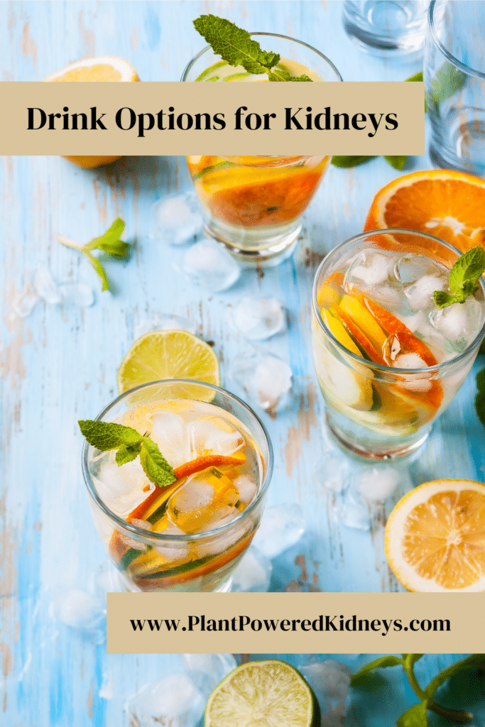 Drink Options Good For Kidneys In background of text, several clear glasses of water, garnished with layered slices of oranges and lemons. A sprig of mint is added on top.