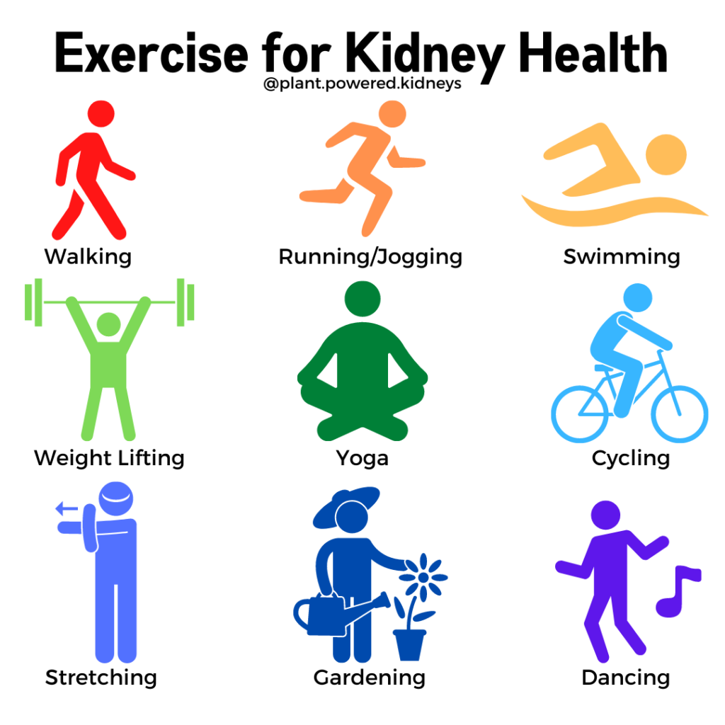 Types of exercise for kidneys: walking, running/jogging, swimming, weight lifting, yoga, cycling, stretching, gardening, dancing.